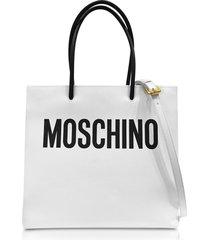moschino designer handbags, white and black signature leather vertical tote