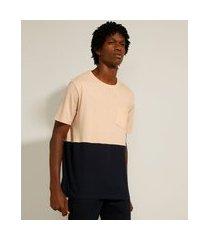 camiseta de algodão bicolor com bolso manga curta gola careca rosê