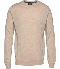 cool wool - iq gebreide trui met ronde kraag beige sand