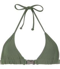 gloria coelho buckle triangle bikini top - green