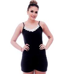 short doll ficalinda de blusa alça fina preta com renda guipir branca no decote e short preto.