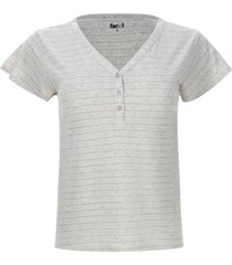camiseta jaspe con pechera color blanco, talla 10