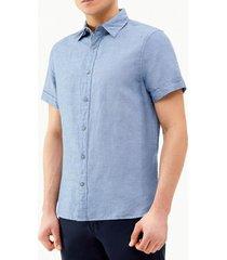 camisa lino azul perry ellis