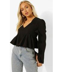 blouse met ruches en v-hals, black