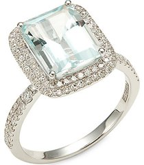 14k white gold, aquamarine & diamond cocktail ring