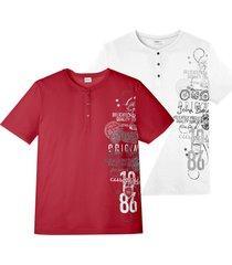 maglia serafino a maniche corte (pacco da 2) (rosso) - john baner jeanswear