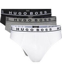 hugo boss 3-pack brief / slip cotton stretch wit, zwart, grijs