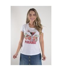 blusa t-shirt mamorena bordados manga multicolorido