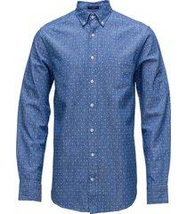 o2. linen mini rombus print reg bd overhemd casual blauw gant