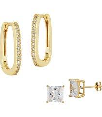 chloe & madison women's 2-piece 18k gold vemeil & cubic zirconia squared hoop & stud earrings set