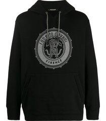 roberto cavalli studded logo hoodie - black