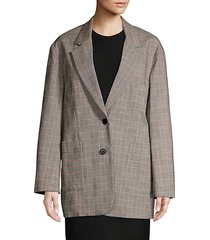 oversized checkered wool blend blazer