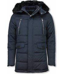 heren winterjas lang - kunstkraag - exclusive zipper parka