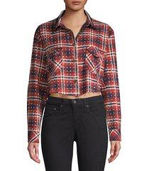 rhinestone flannel plaid button-down shirt