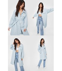 womens quilted button down longline belted coat - pale blue
