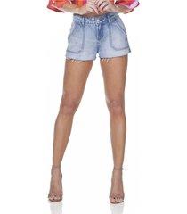 shorts jeans denim zero young com bolso sobreposto