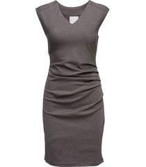 india v-neck dress knälång klänning grå kaffe