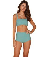 biquini mos beachwearde hot pants pã¢ntano liso acqua - azul - feminino - dafiti