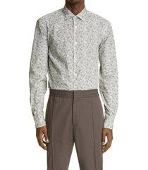 men's ermenegildo zegna print button-up pure cotton shirt, size large - grey