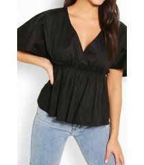 cotton ruched waist batwing sleeve blouse, black