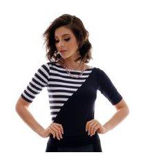 blusa com duas cores preto e listras pretas e brancas feminina meia manga decote canoa