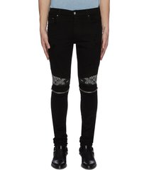 mx2' bandana panelled zip knee dark wash jeans