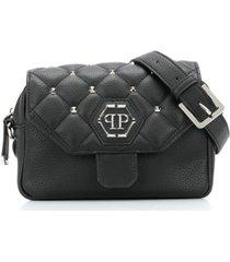 philipp plein bolsa tiracolo com logo de tachas - preto