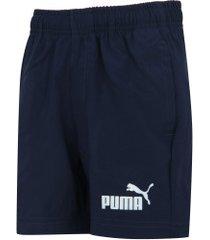 "bermuda puma ess woven shorts 5"" b - infantil - azul escuro"