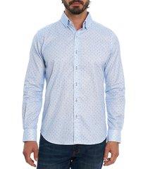 robert graham men's mydland tailored-fit polka dots shirt - blue multi - size xl