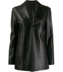 1017 alyx 9sm fitted leather blazer - black