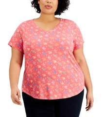 style & co plus size printed burnout t-shirt, created for macy's