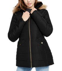 celebrity pink juniors' faux-fur trim hooded puffer coat