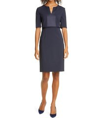 women's boss deriba satin detail stretch wool sheath dress, size 2 - blue