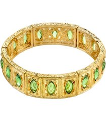 2028 gold-tone green navette stretch bracelet