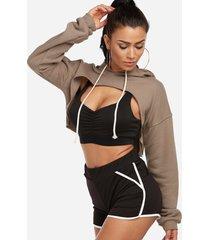 sudaderas con capucha deportivas atractivas de la cintura del cordón del corte del cuello redondo activo en caqui