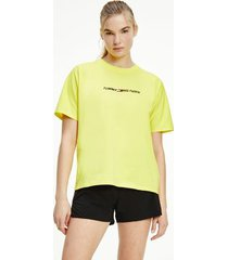 tommy hilfiger women's relaxed fit organic cotton t-shirt magnetic yellow - xl