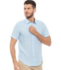camisa nautica lino mc celeste - calce regular