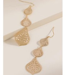 amber lace filigree linear earrings - gold