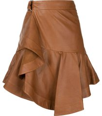 a.l.c. amalie leather skirt - brown
