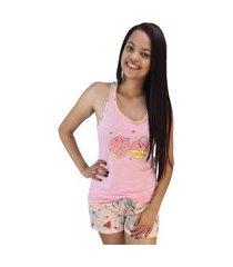 pijama feminino docinho rosa shorts divertido