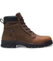 "wolverine chainhand steel-toe waterproof 6"" boot brown, size 8 extra wide width"