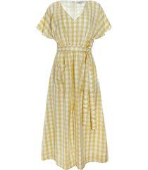 women's madewell gingham check dolman sleeve tie waist midi dress