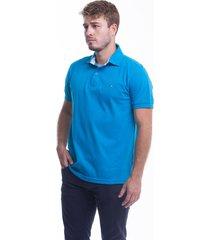 camiseta polo hamer, basica con bordado, para hombre color azul turqueza