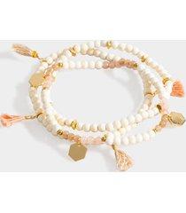 mireya wood beaded tassel bracelet set - white