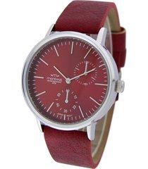 reloj rojo montreal cuero