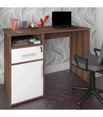 mesa escrivaninha hall 1 porta 1 gaveta ipê/branco - artany