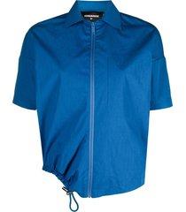 dsquared2 maple leaf zip-up shirt - blue