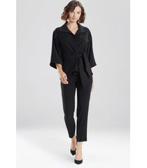 natori bi-stretch belted jacket, women's, black, size l natori