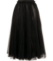 dolce & gabbana ruched tulle midi skirt - black