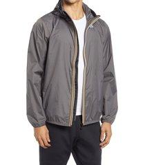 men's k-way le vrai 3.0 claude waterproof jacket, size large - grey